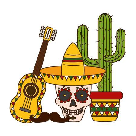 skull hat guitar cactus mustache cinco de mayo vector illustration Illustration