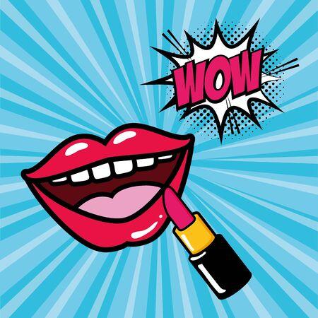 mouth lipstick makeup wow girl power pop art vector illustration