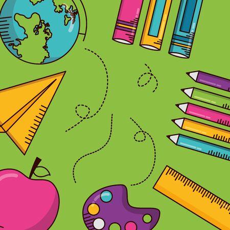 school apple paper plane books poster teachers day