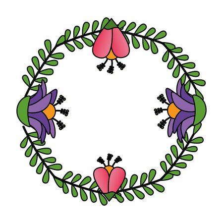 flowers wreath flora leaves decoration vector illustration design Standard-Bild - 129500600