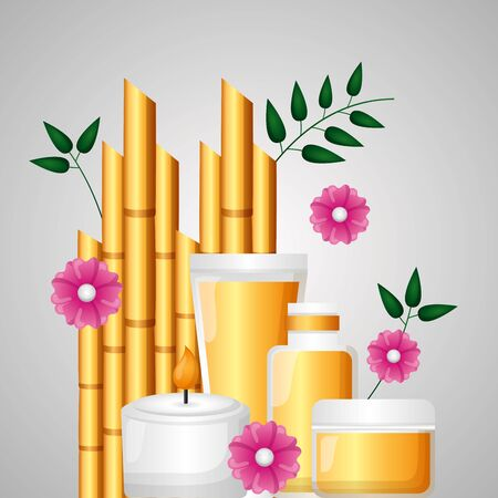 collection products skin care bamboo flowers spa treatment therapy vector illustration Illustration