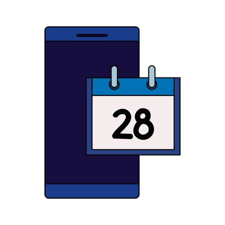 smartphone device with calendar reminder vector illustration design