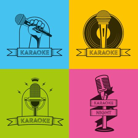 karaoke retro style colored set vector illustration