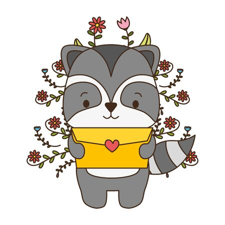 cute raccoon cartoon mail love vector illustration