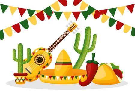 hat guitar taco cactus celebration garland cinco de mayo vector illustration
