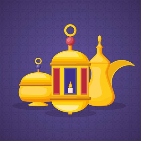 lantern tea pot and candle ramadan kareem celebration vector illustration design