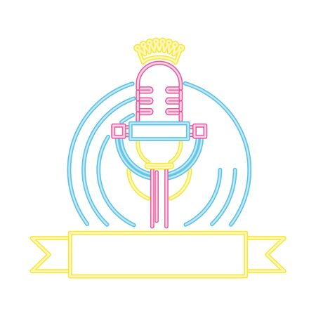microphone and vinyl karaoke neon vector illustration