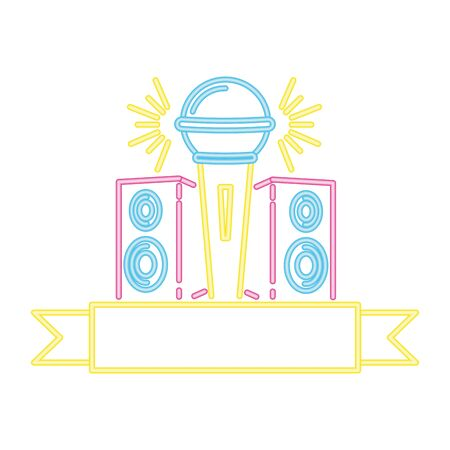 microphone and speakers music neon vector illustration Иллюстрация