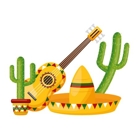 hat guitar cactus celebration cinco de mayo vector illustration  イラスト・ベクター素材