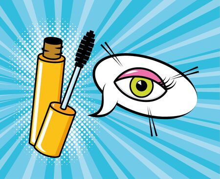 mascara brush eye female pop art elements vector illustration