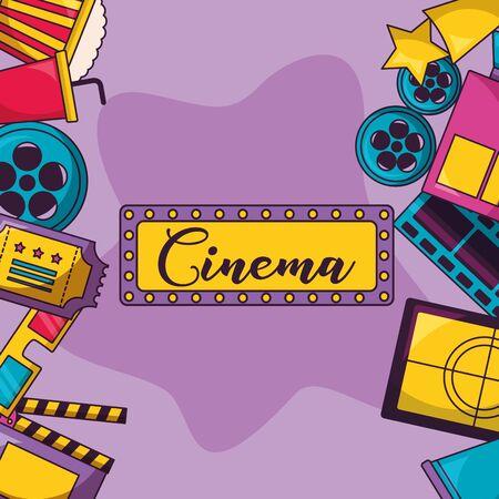 billboard reel ticket screen glasses cinema movie