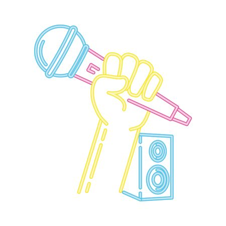 microphone and speakers music neon vector illustration  イラスト・ベクター素材