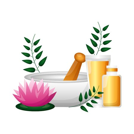 bowl organic product spa treatment therapy vector illustration Çizim