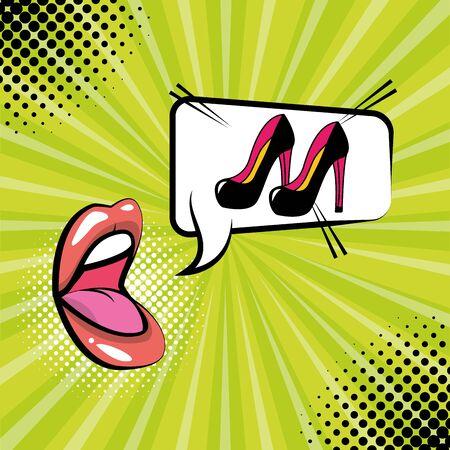 open mouth high heel shoes speech bubble sunburst background pop art vector illustration Stock Illustratie