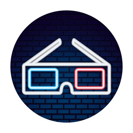 cinema glasses with neon lights vector illustration design