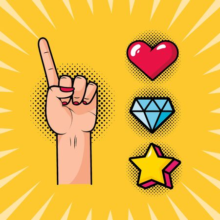 hand with index finger raised love diamond candy girl power pop art vector illustration