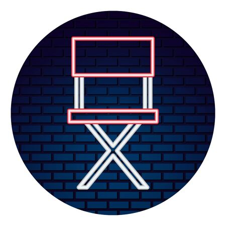 movie director chair with neon lights vector illustration design