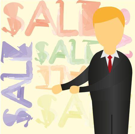 man with suit over sale background. vector Illusztráció