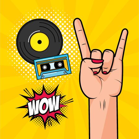 rock hand vinyl and cassette pop art elements vector illustration