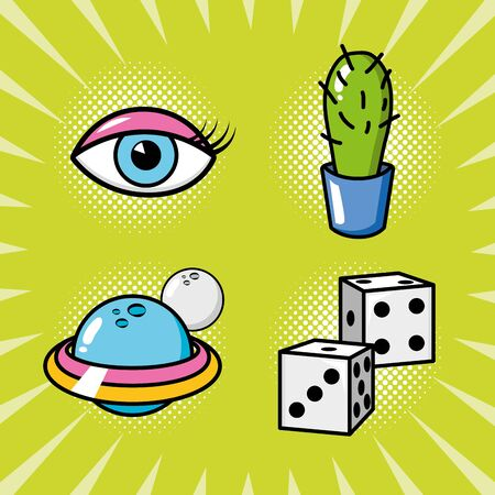 set pop art elements eye cactus planet dices vector illustration 向量圖像