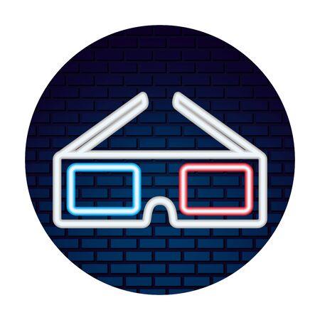 cinema glasses with neon lights vector illustration design