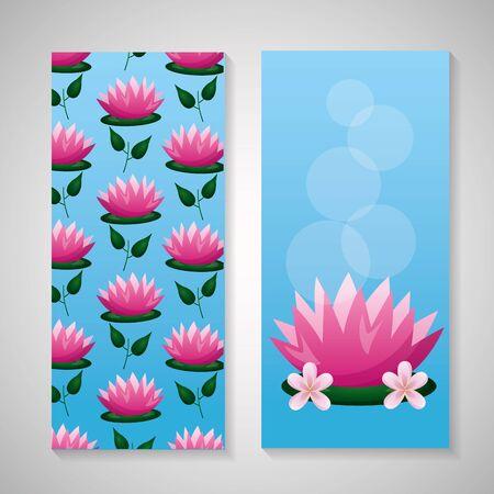 lotus flowers leaves decoration background vector illustration