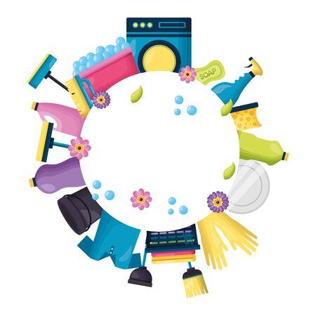 illustrazione vettoriale di illustrazione vettoriale dell'attrezzatura del prodotto per le pulizie di primavera Vettoriali