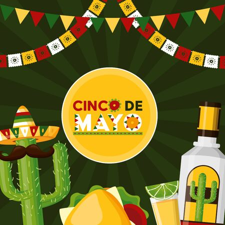 tequila cactus taco mexico cinco de mayo celebration vector illustration