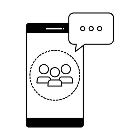 smartphone with contacts and speech bubbles vector illustration design