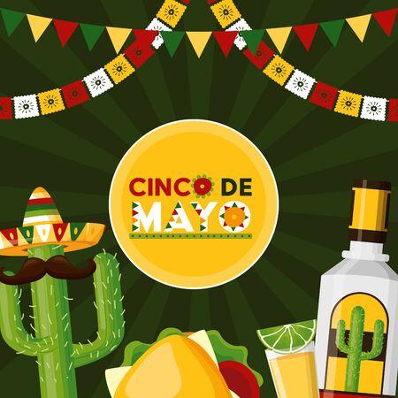 tequila cactus taco mexico cinco de mayo celebration vector illustration