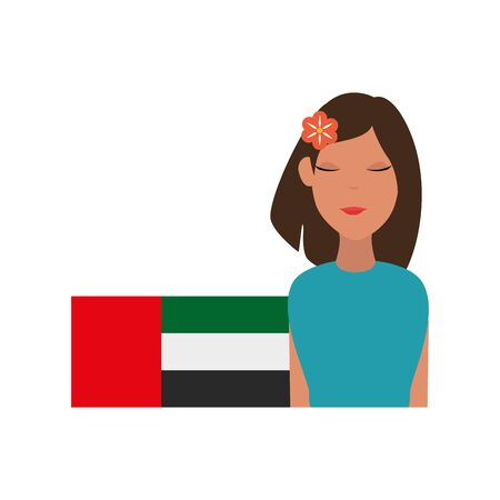 islamic woman with emirates arab flag vector illustration design  イラスト・ベクター素材