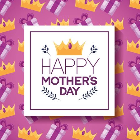 mothers day flowers badge decoration gift crown background vector illustration Banque d'images - 132220269
