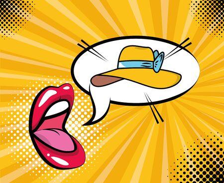 bocca e cappello femminile elementi pop art illustrazione vettoriale