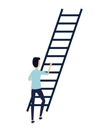 businessman climbing stairs avatar character vector illustration design