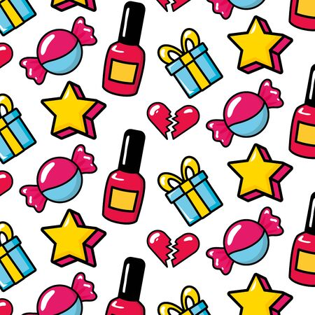 achtergrond snoepjes cadeau ster nagellak popart vectorillustratie Vector Illustratie
