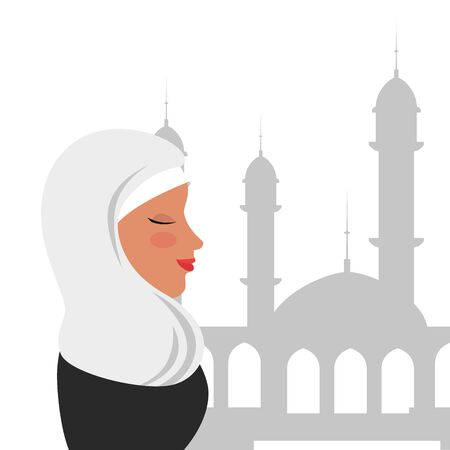profile of islamic woman with traditional burka in mosque vector illustration design Banque d'images - 129501768