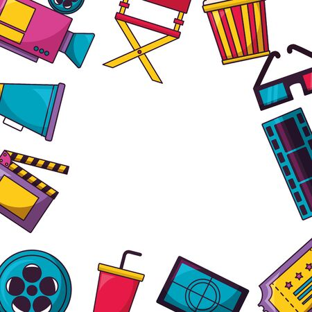 frame 3d glasses speaker popcorn ticket camera cinema movie vector illustration Standard-Bild - 129501809