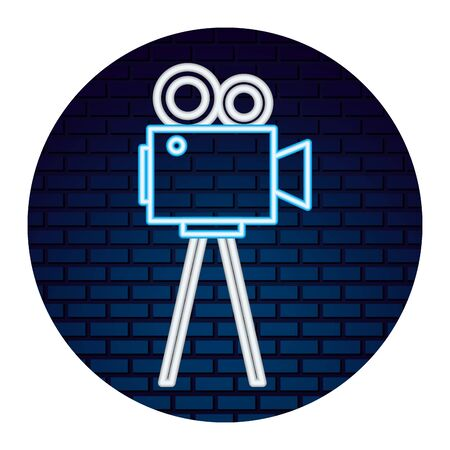 video camera with light of neon icon icon vector illustration design Ilustração