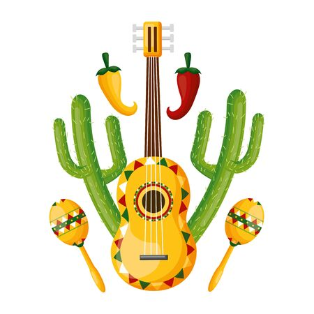 guitar maracas cactus jalapeno mexico cinco de mayo vector illustration