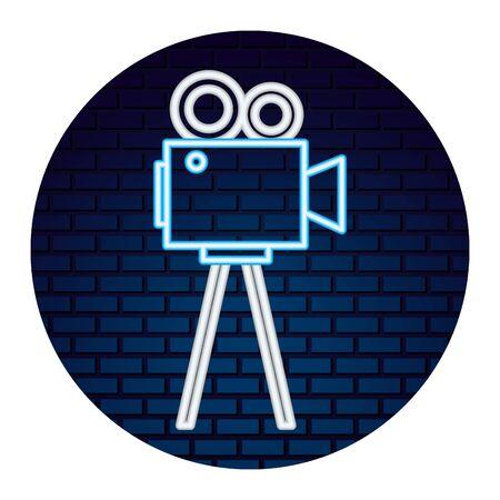 video camera with light of neon icon icon vector illustration design Ilustracja