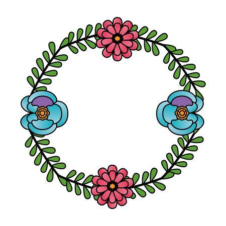 flowers wreath flora leaves decoration vector illustration design Standard-Bild - 129501871