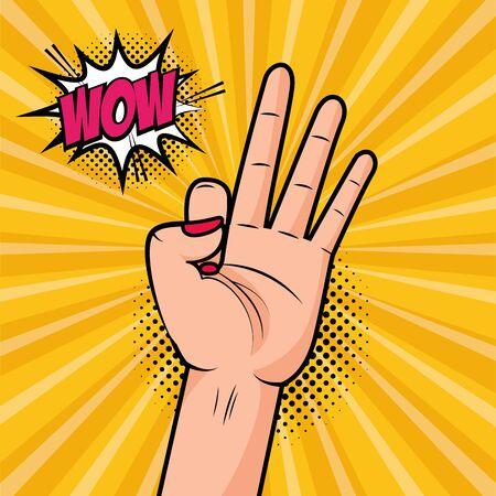 hand ok gesture girl power pop art vector illustration