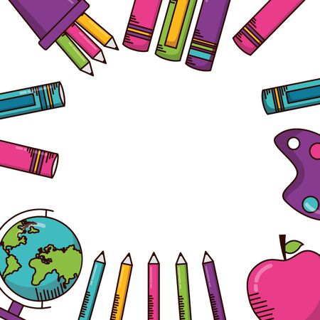 map books pencils school supplies vector illustration design