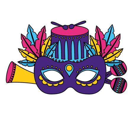 carnival mask drum feathers maracas vector illustration