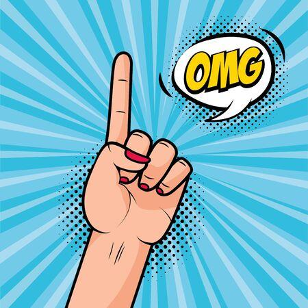 hand with index finger raised girl power omg pop art vector illustration