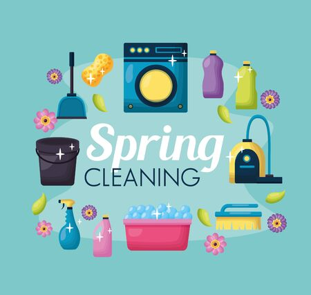 spring cleaning supplies set vector illustration design