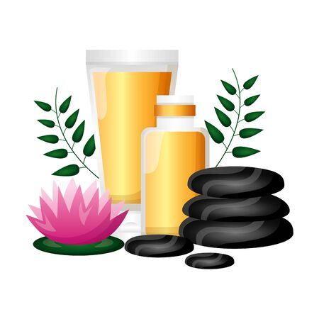 flower stones products care spa therapy treatment vector illustration