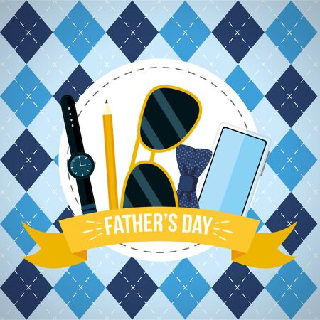 watch glasses mobile checkered background happy fathers day vector illustration