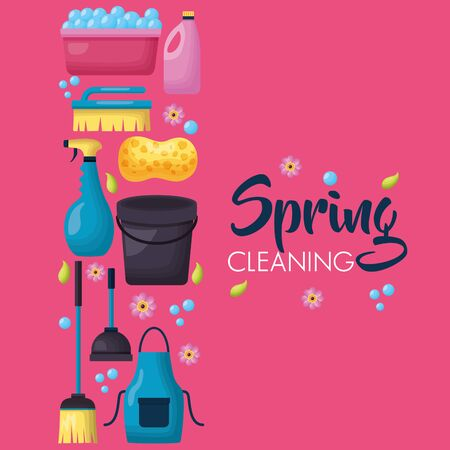 spring cleaning tools poster vector illustration design Stock Illustratie