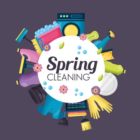 spring cleaning lettering product equipment vector illustration